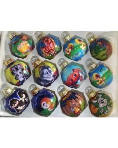 """Children's Christmas Ornaments Assorted shiny glass ornaments with designs for kids, 1 3/4"""" diameter. These are great decorations for the holiday season. Use them on garlands or wreaths, or on the Christmas tree. Each sold separately."""