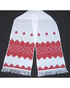 Huckweaved Rushnyk embroidered on an Aida cloth is done in huckweaving with cherry red design. Fabric is very soft, made of loom woven linen.