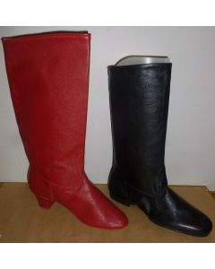 Mens and Womens custom handmade leather split soled dancing boots (choboty) in red and black.